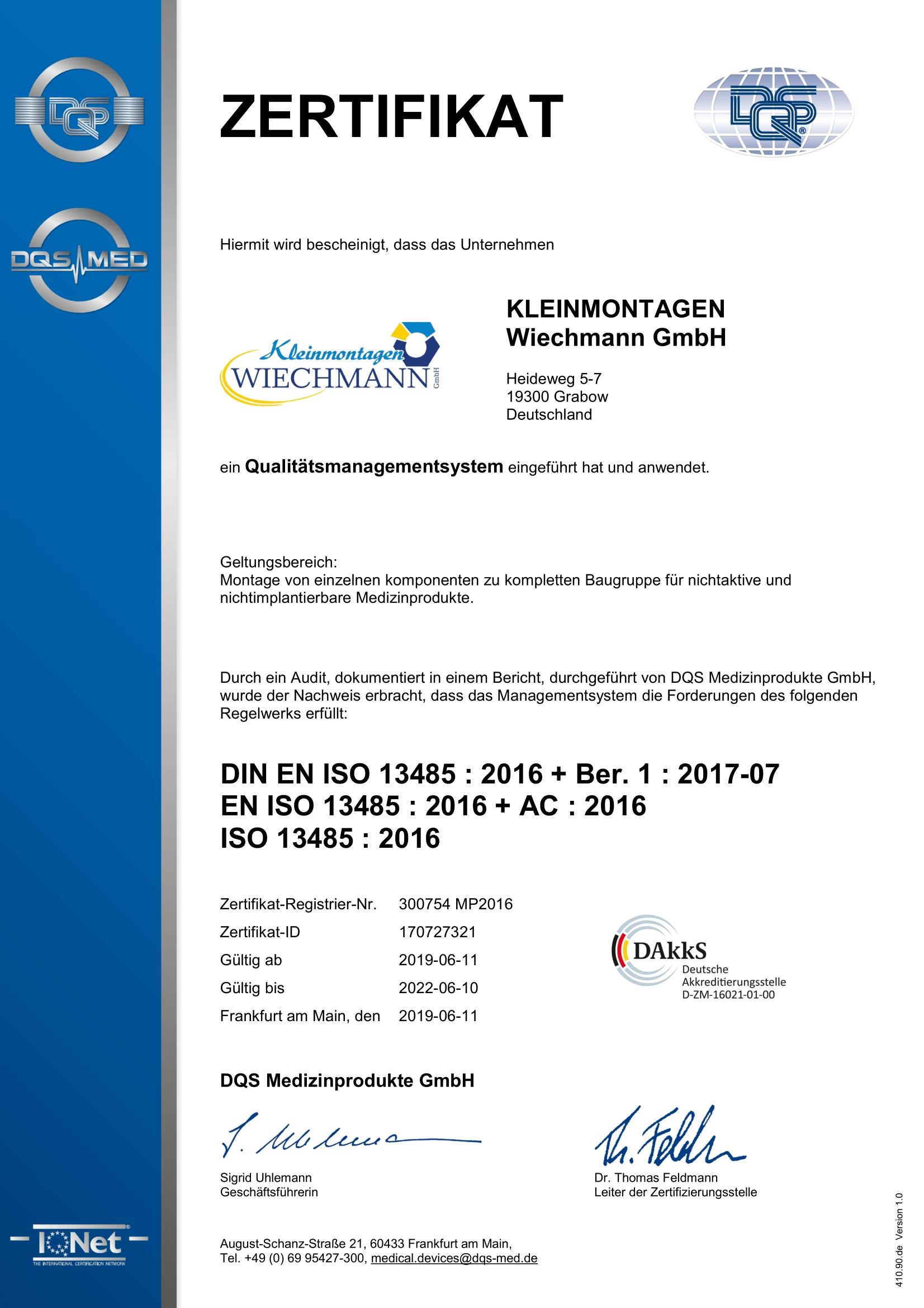 Zertifikat DIN EN ISO 13485 - Kleinmontagen Wiechmann GmbH