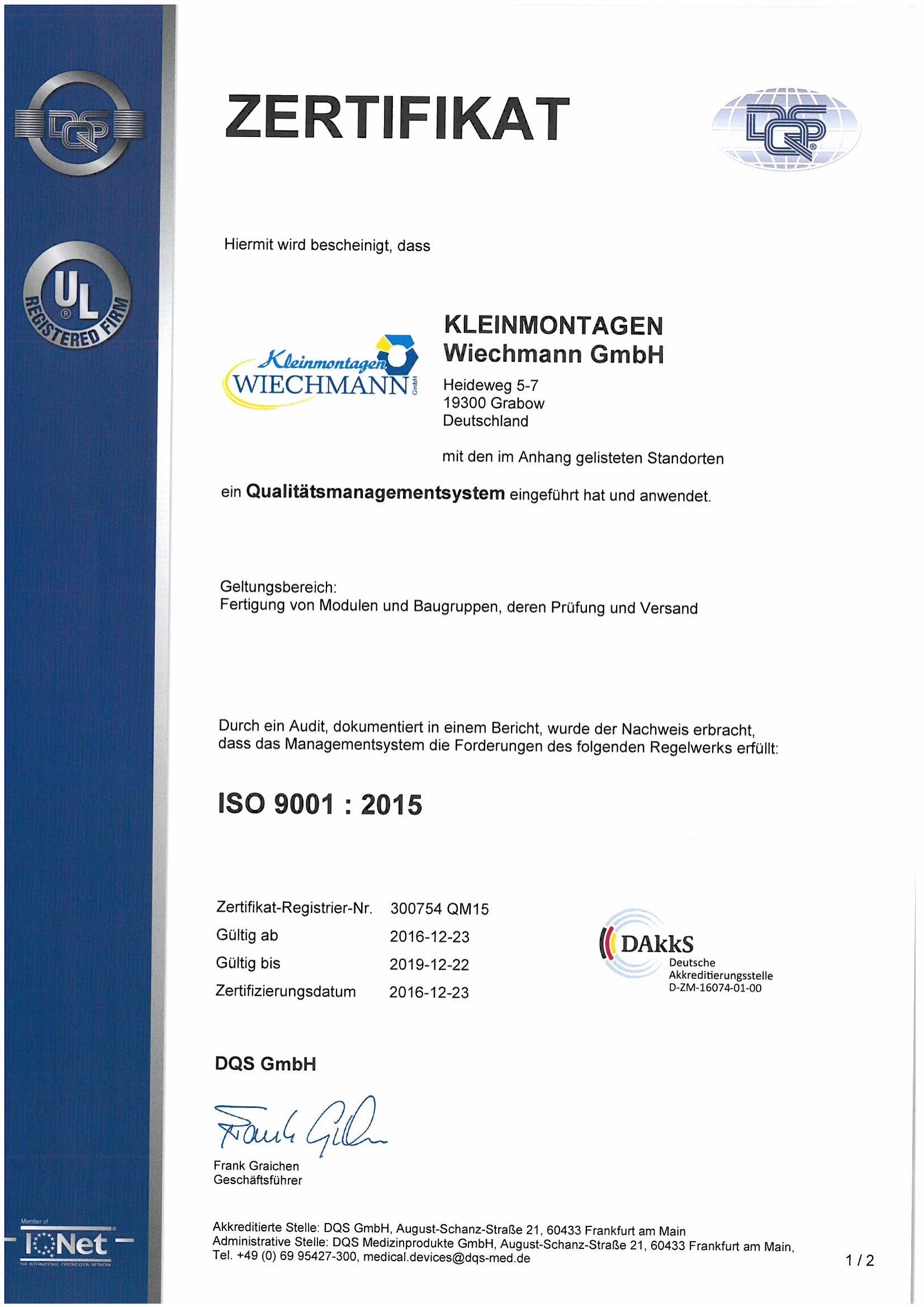 Zertifikat ISO 9001 : 2015 - Kleinmontagen Wiechmann GmbH