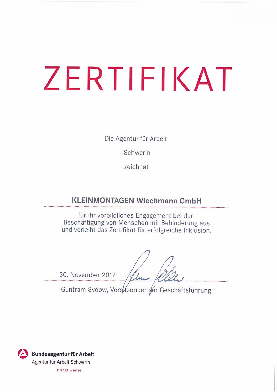 Zertifikat 3 - Gelände - Kleinmontagen Wiechmann in Grabow